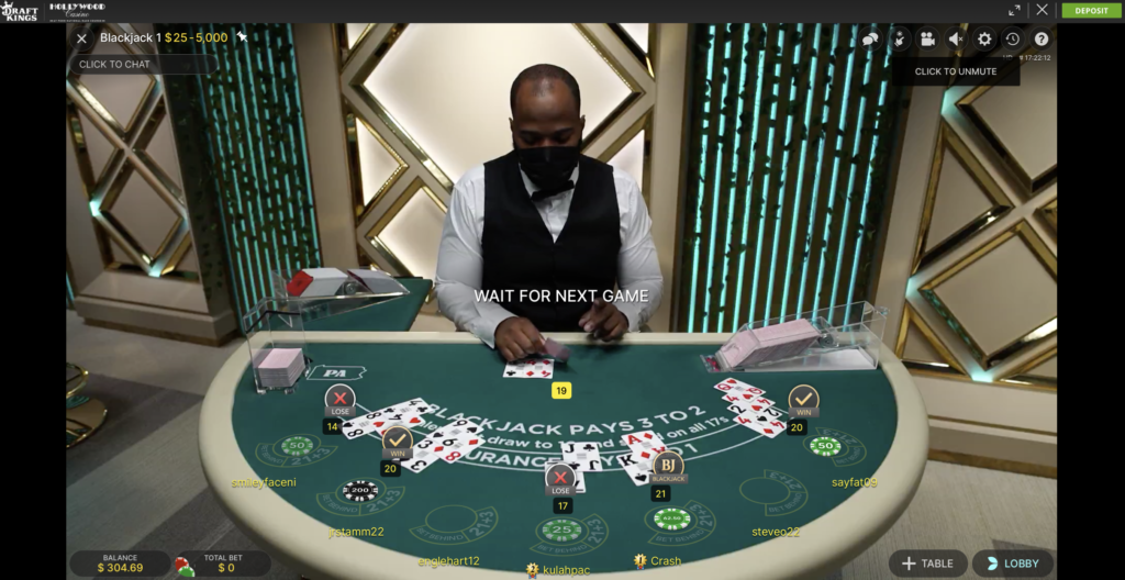 live dealer blackjack pa