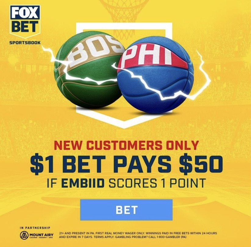 Bet $1, Win $50 at FOX Bet PA If Embiid Scores Against Celtics